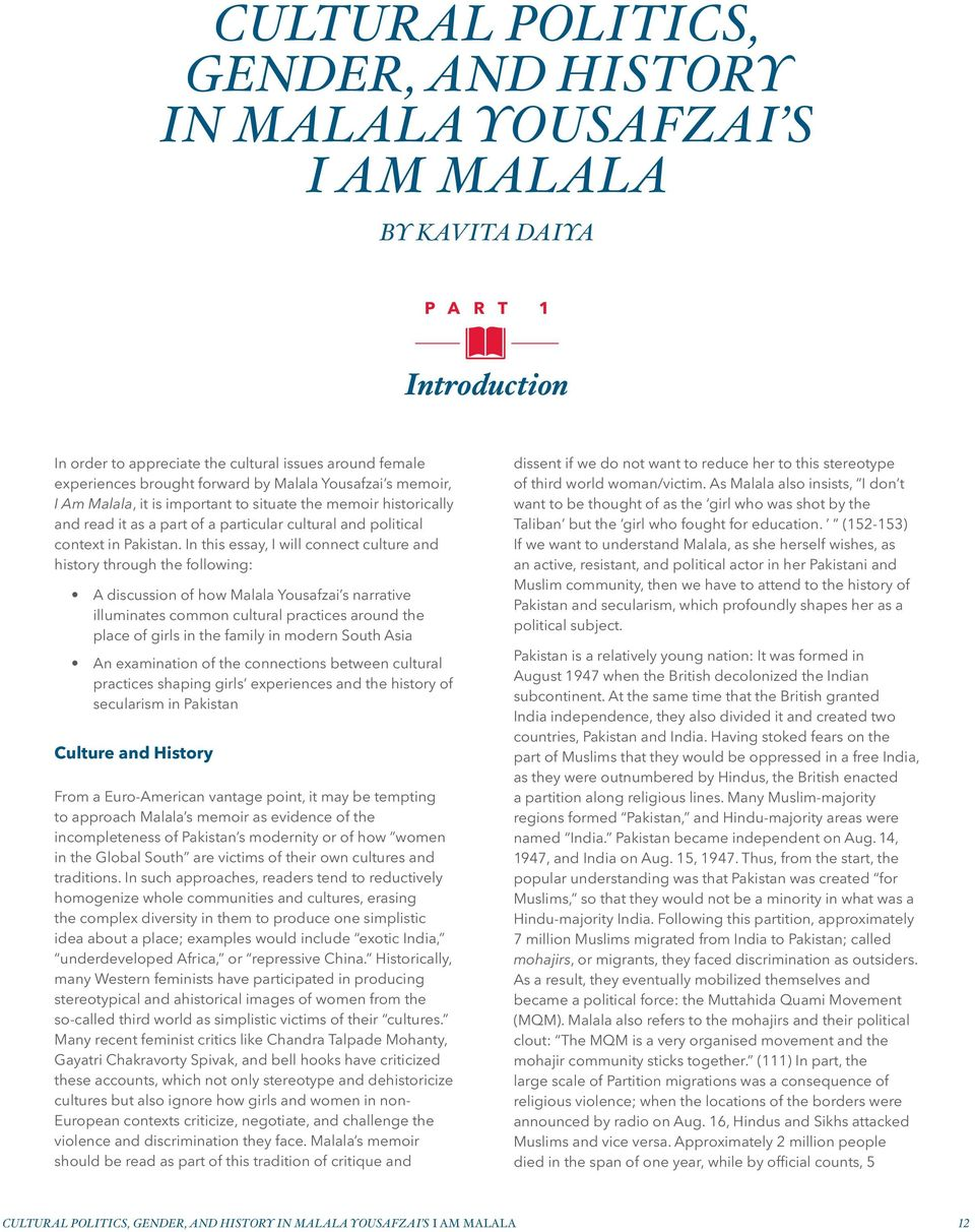 Argument essay about malala