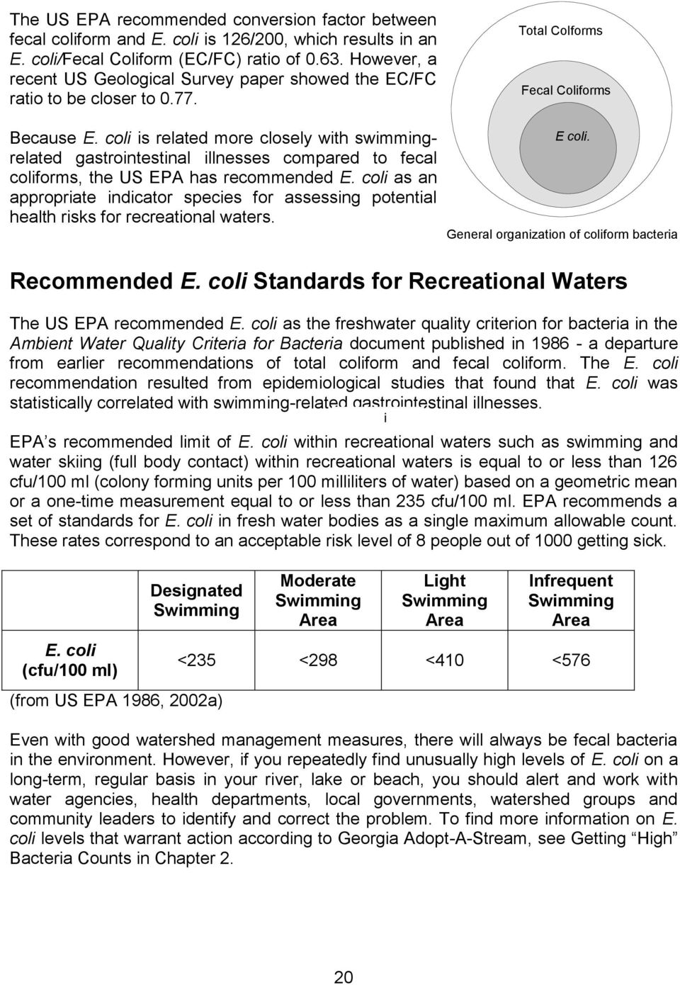 coli is related more closely with swimmingrelated gastrointestinal illnesses compared to fecal coliforms, the US EPA has recommended E.
