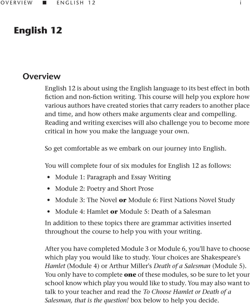 english 12 overview so get comfortable as we embark on our reading and writing exercises will also challenge you to become more critical in how you make