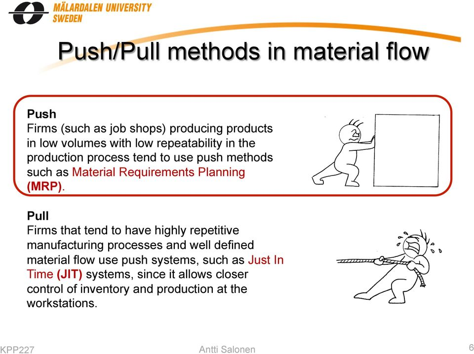 Pull Firms that tend to have highly repetitive manufacturing processes and well defined material flow use push