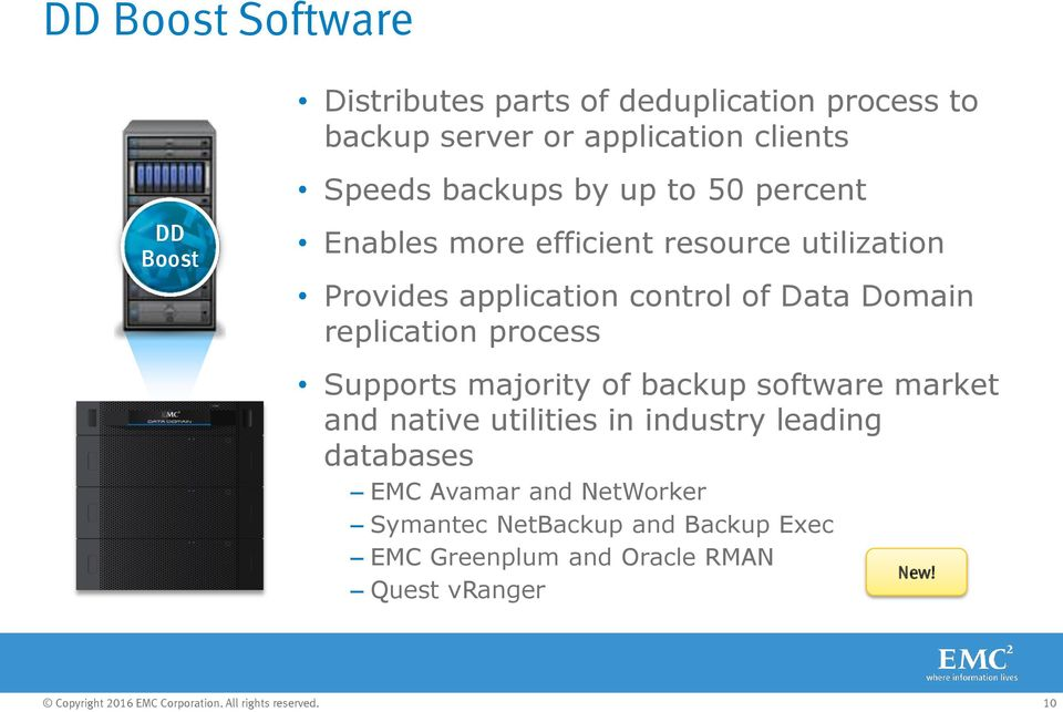 Data Domain replication process Supports majority of backup software market and native utilities in industry