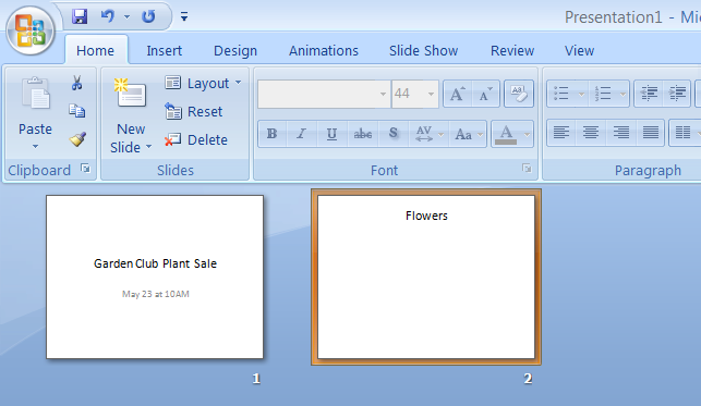 Exercise 1B The PowerPoint Window In this exercise you will explore the PowerPoint Window. 1. If you haven t already, start Microsoft PowerPoint by selecting it from among the Programs listed on the Start Menu.