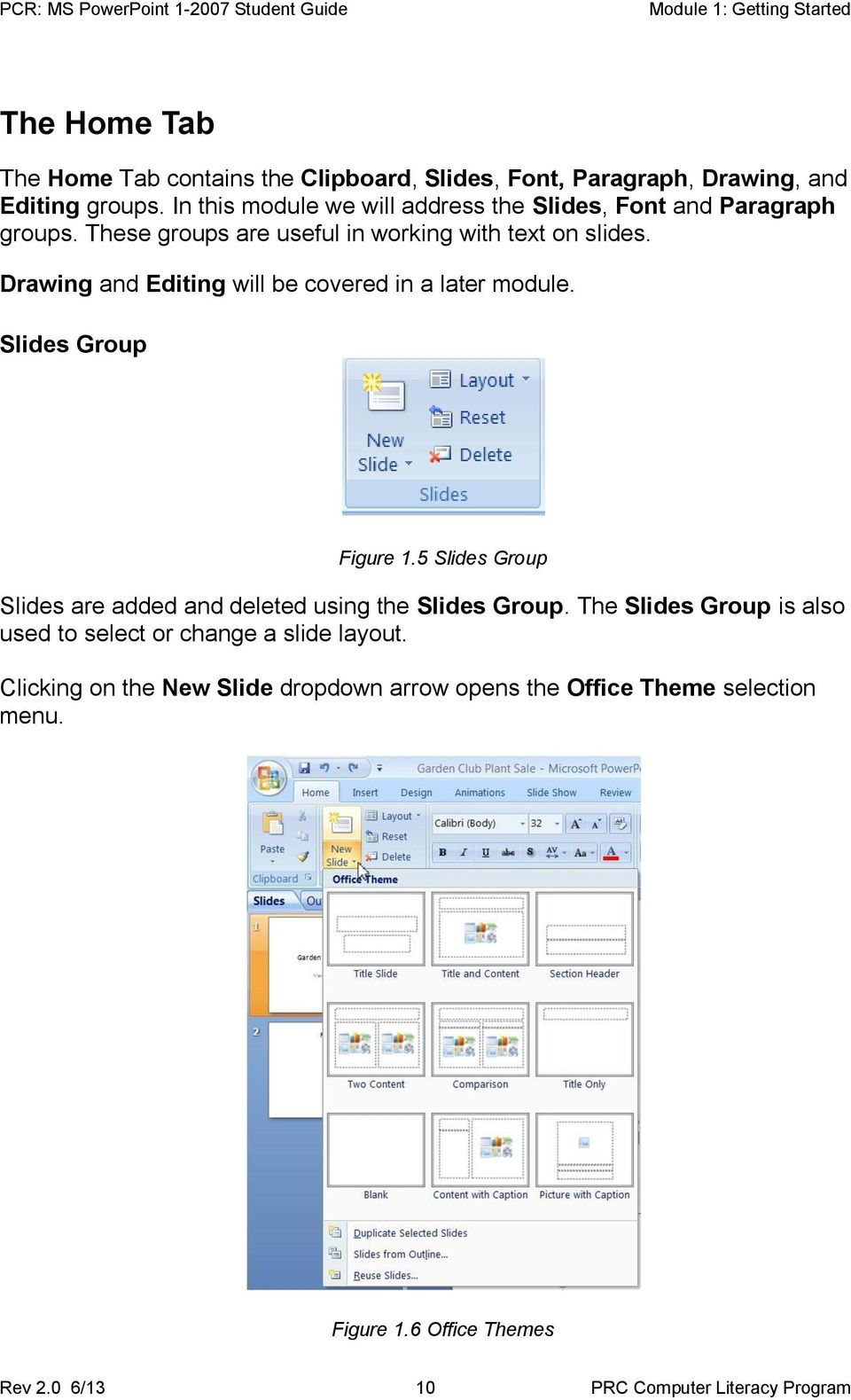 Drawing and Editing will be covered in a later module. Slides Group Figure 1.5 Slides Group Slides are added and deleted using the Slides Group.