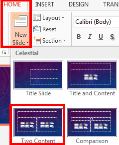 Microsoft PowerPoint 2013 Part 2: Notes, Links, & Graphics Choosing a Design Open PowerPoint. Click on Blank Presentation. Click on the Design tab. Click on the design tab of your choice.