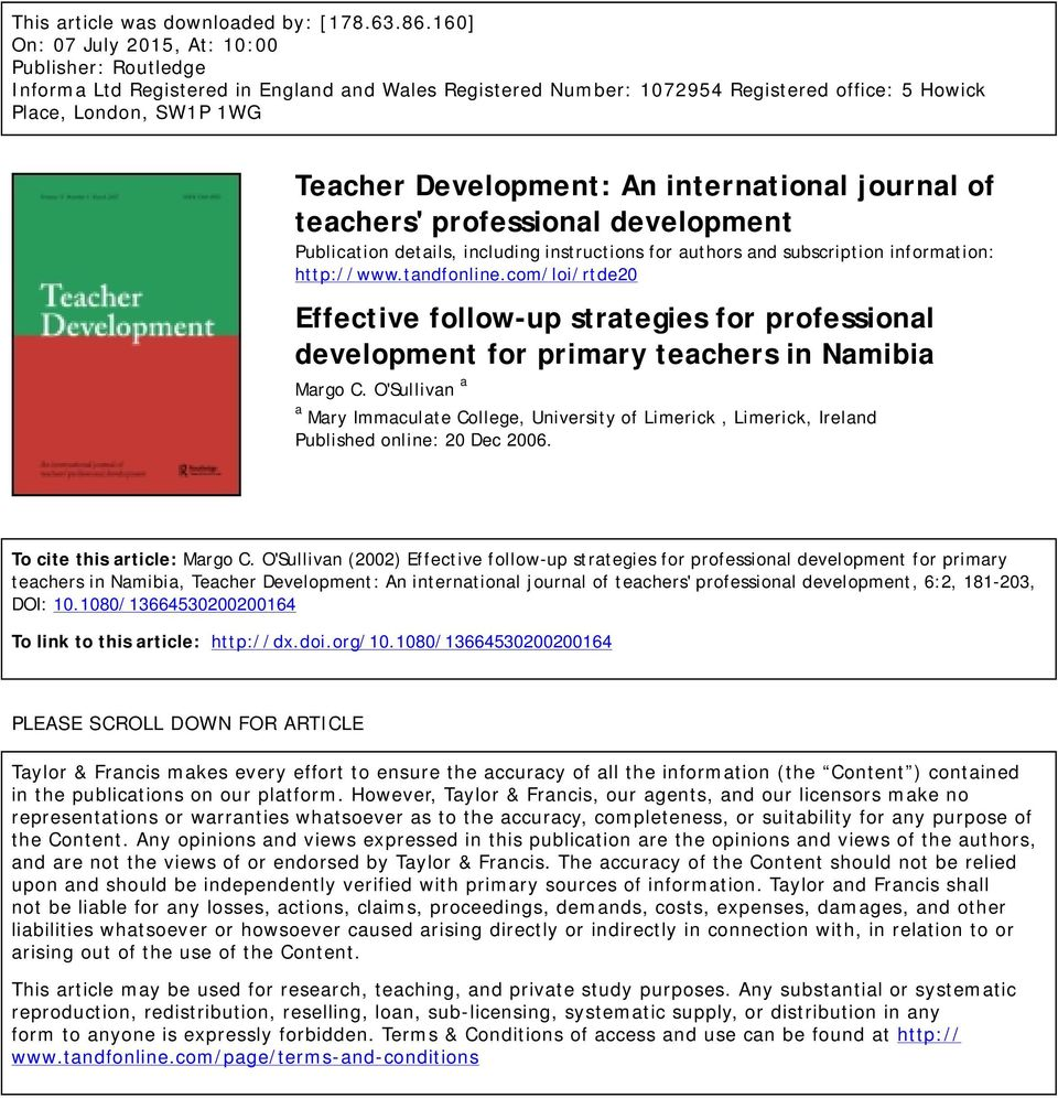 An international journal of teachers' professional development Publication details, including instructions for authors and subscription information: http://www.tandfonline.