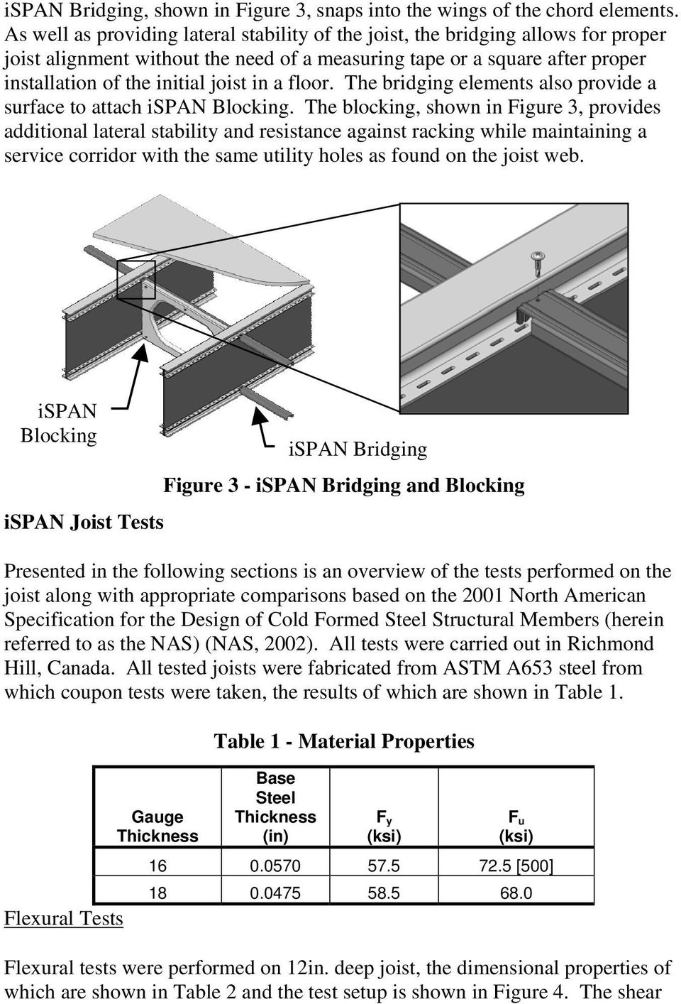 a floor. The bridging elements also provide a surface to attach ispan Blocking.