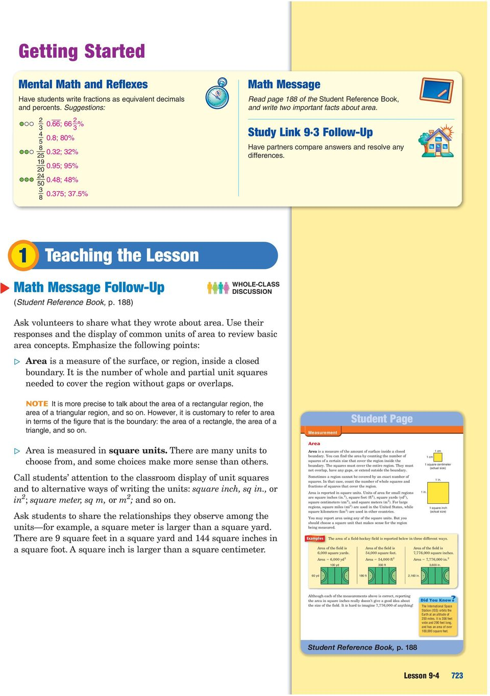 Study Link 9 3 Follow-Up Have partners compare answers and resolve any differences. 1 Teaching the Lesson Math Message Follow-Up (Student Reference Book, p.