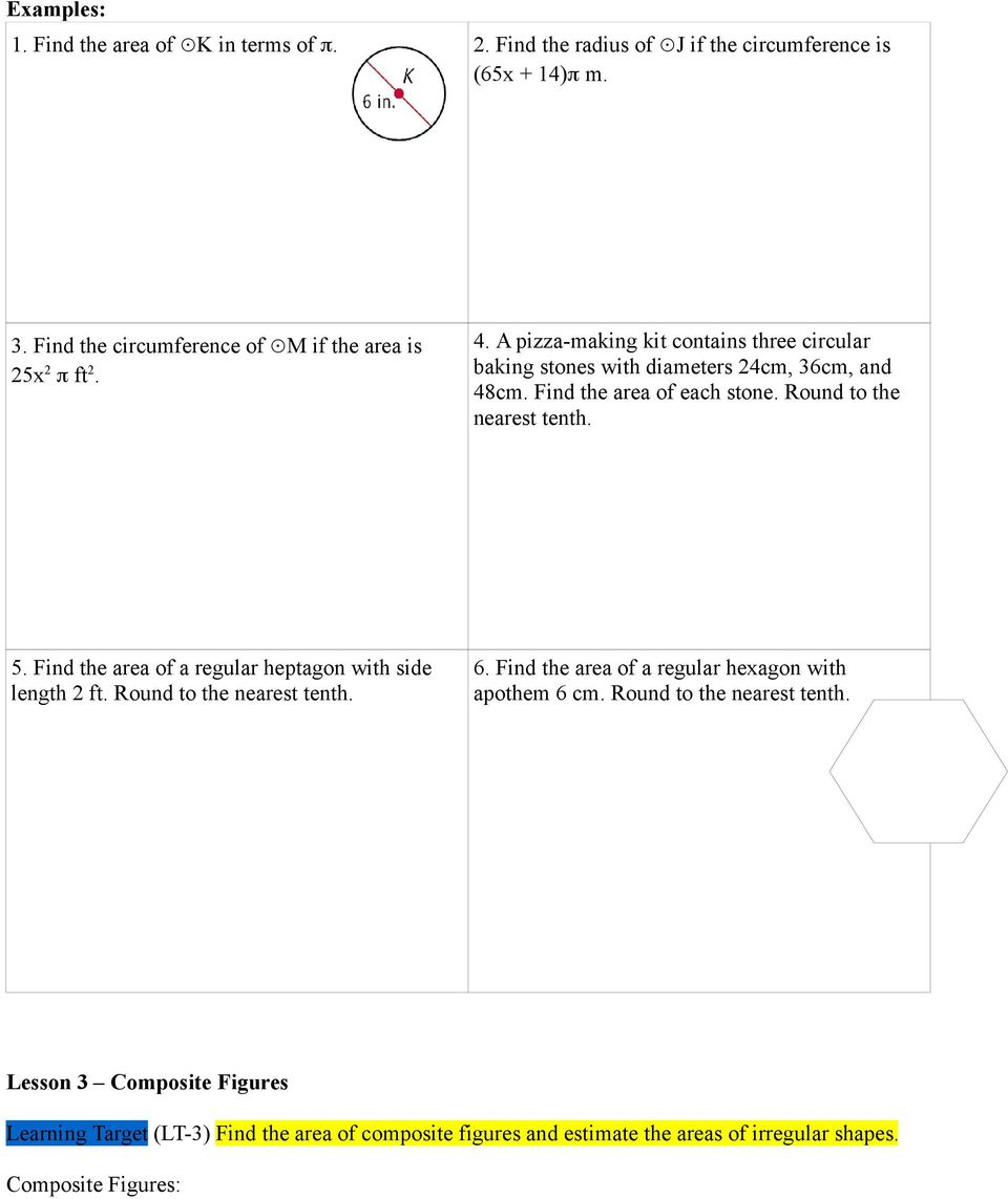 Geometry Chapter 9 Extending Perimeter Circumference And Area Pdf