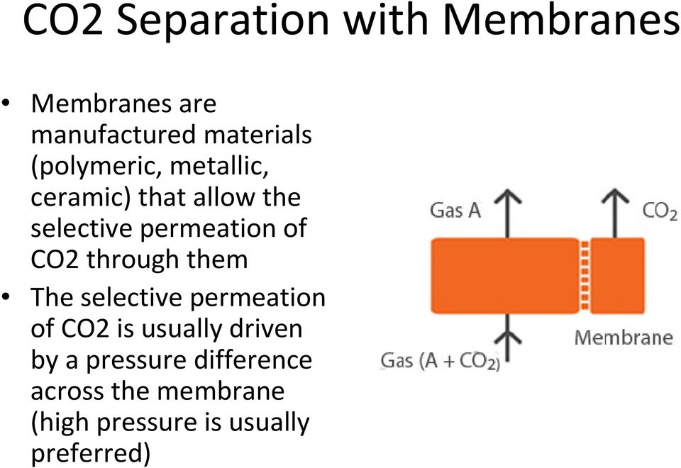 CO2 through them The selective permeation of CO2 is usually driven by a