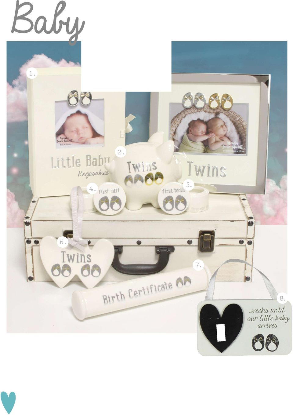 Twins Silver plated photo frame WJ219 ctn qty:18 6 x 4 21cm x 21cm x 2cm 4. Ceramic First Curl box WJ212 ctn qty:144 4cm x 5cm x 5cm 5.