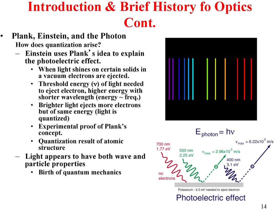 Threshold energy (ν) of light needed to eject electron, higher energy with shorter wavelength (energy ~ freq.