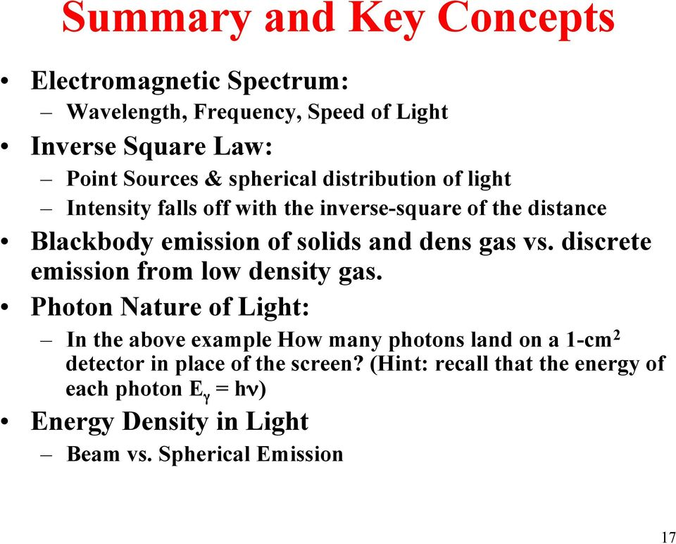 gas vs. discrete emission from low density gas.