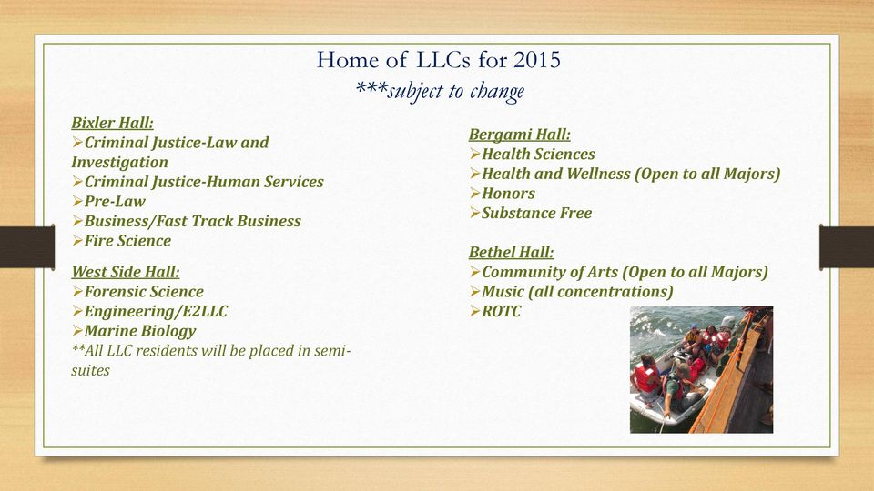 placed in semisuites Home of LLCs for 2015 ***subject to change Bergami Hall: Health Sciences Health and Wellness