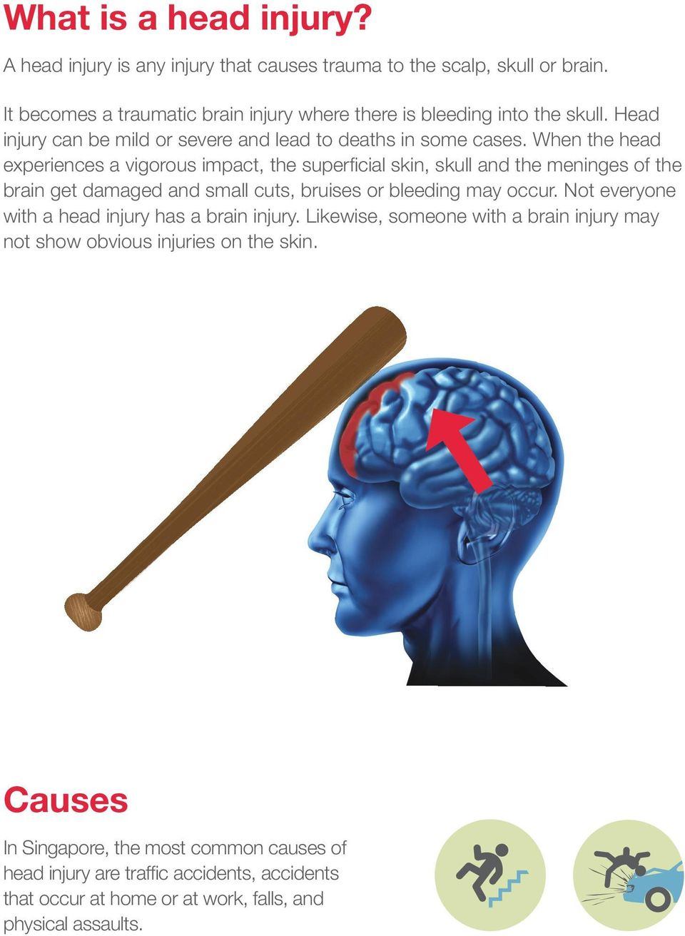 When the head experiences a vigorous impact, the superficial skin, skull and the meninges of the brain get damaged and small cuts, bruises or bleeding may occur.