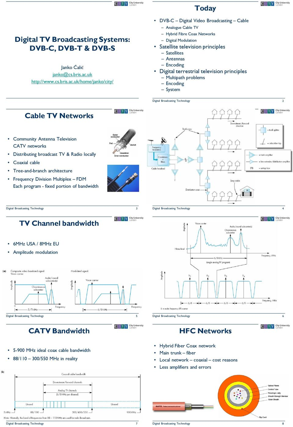 uk/home/janko/city/ DVB-C Digital Video Broadcasting Cable Analogue Cable TV Hybrid Fibre Coax Networks Digital Modulation Satellite television principles Satellites Antennas Encoding Digital
