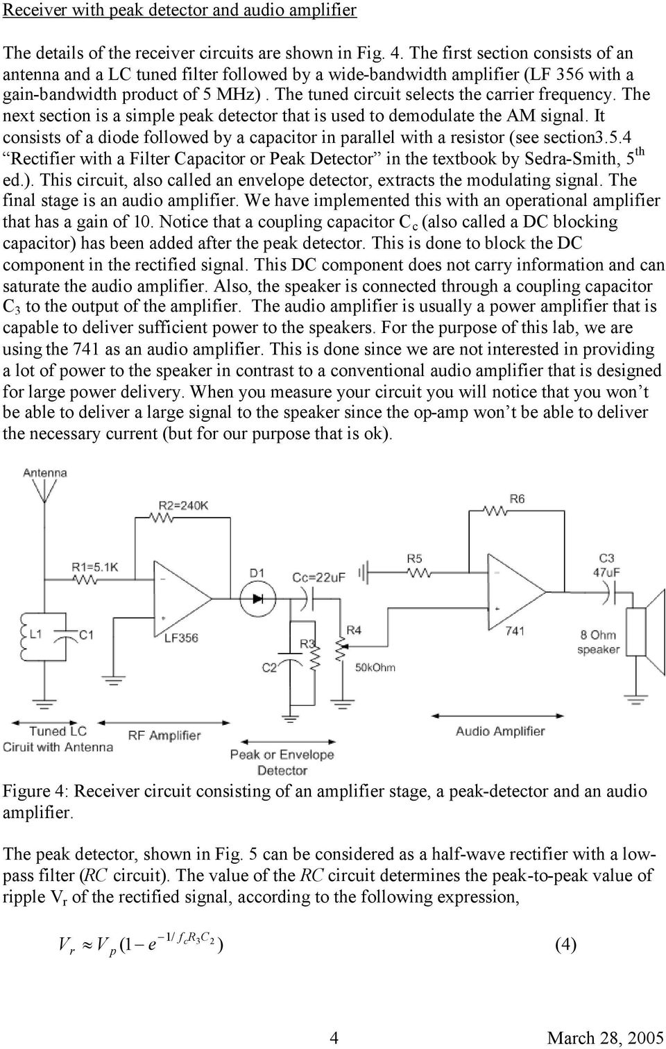 The next section is a simple peak detector that is used to demodulate the AM signal. It consists of a diode followed by a capacitor in parallel with a resistor (see section3.5.