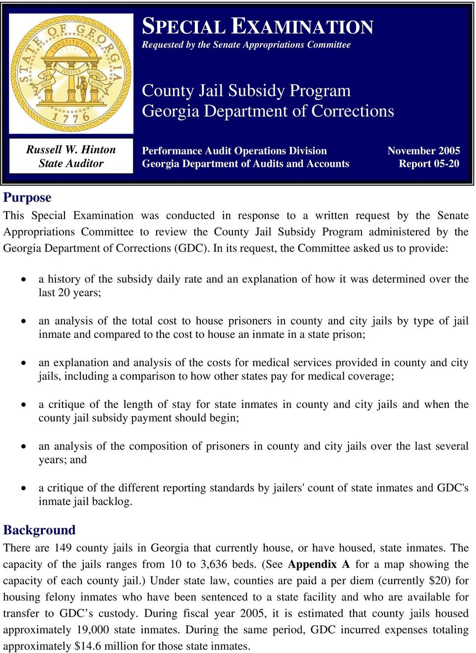 request by the Senate Appropriations Committee to review the County Jail Program administered by the Georgia Department of Corrections (GDC).
