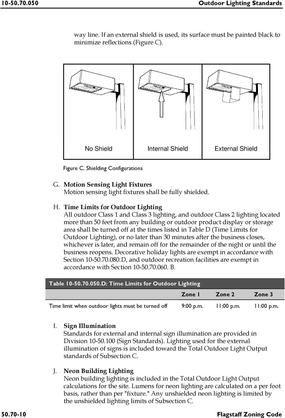 Time Limits for Outdoor Lighting All outdoor Class 1 and Class 3 lighting, and outdoor Class 2 lighting located more than 50 feet from any building or outdoor product display or storage area shall be