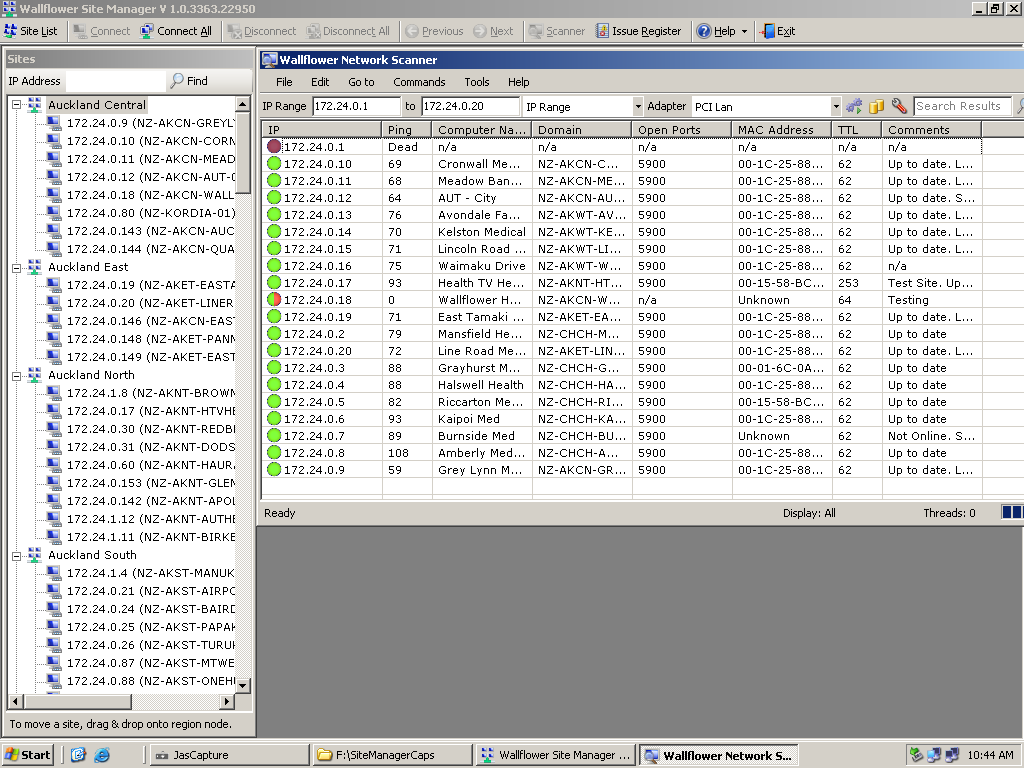 The screen below shows the Site List scrolled across to reveal typical asset information details stored for each screen.