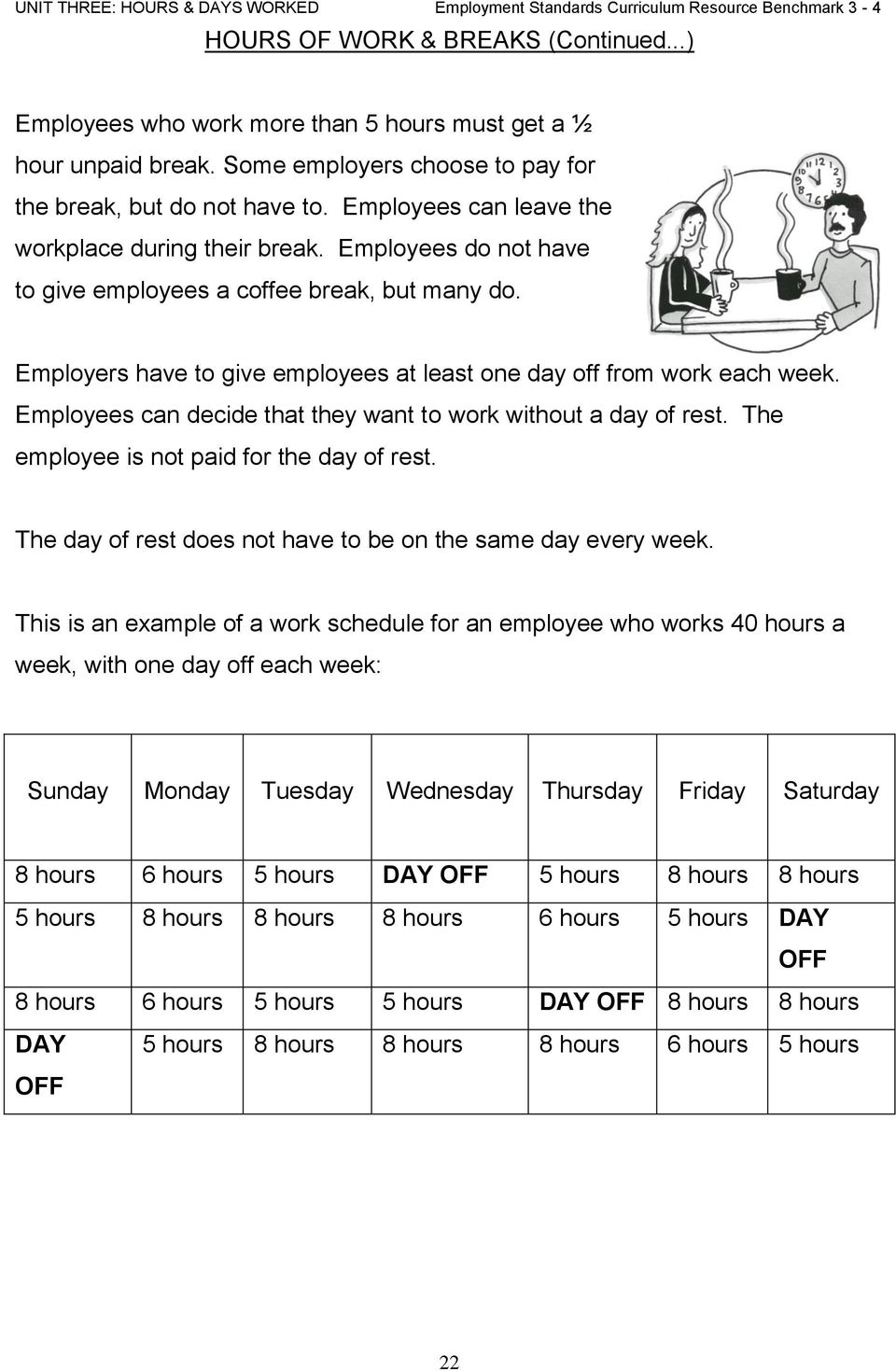 Employees can decide that they want to work without a day of rest. The employee is not paid for the day of rest. The day of rest does not have to be on the same day every week.