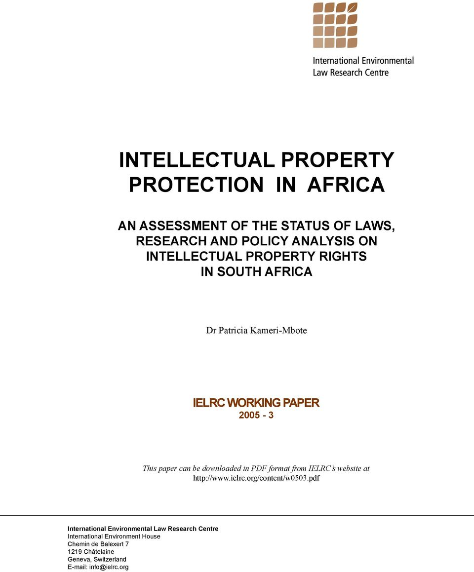 Intellectual Property Protection: INTELLECTUAL PROPERTY PROTECTION IN AFRICA