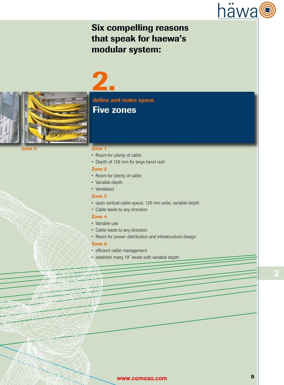 plenty of cable Variable depth Ventilated Zone 3 open vertical cable space, 125 mm wide, variable depth Cable leads to any