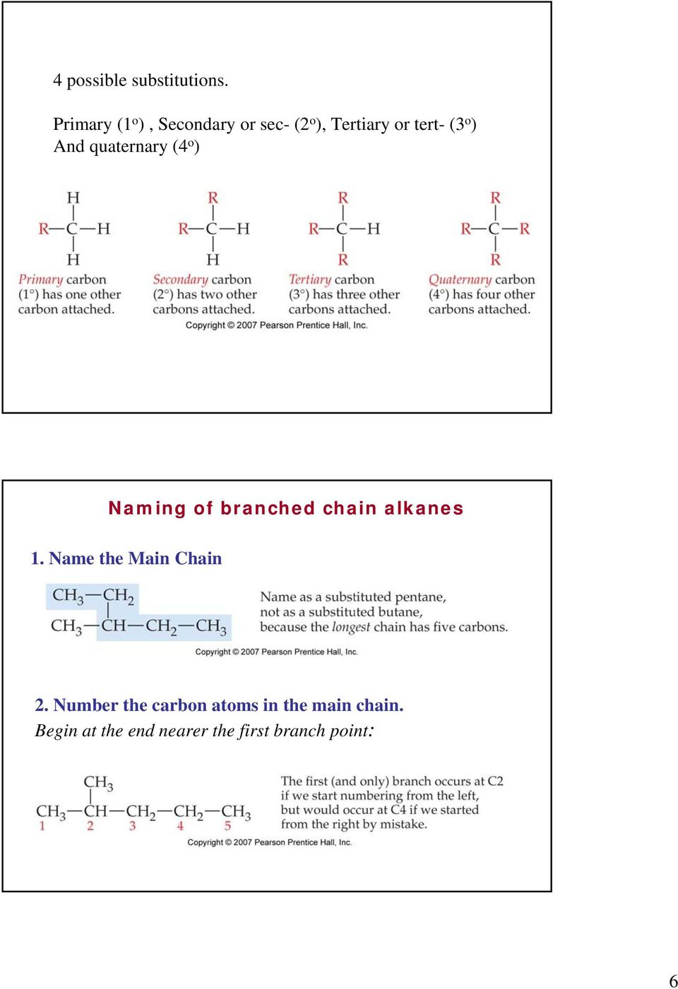 And quaternary (4 o ) Naming of branched chain alkanes 1.