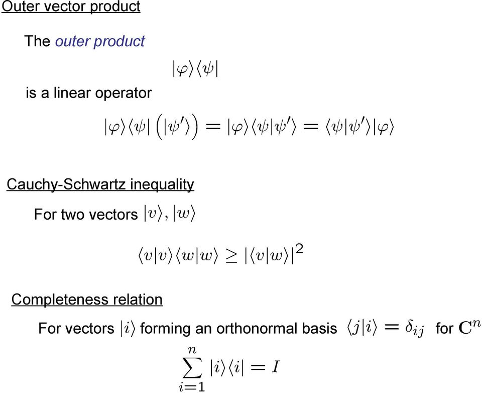 inequality For two vectors Completeness