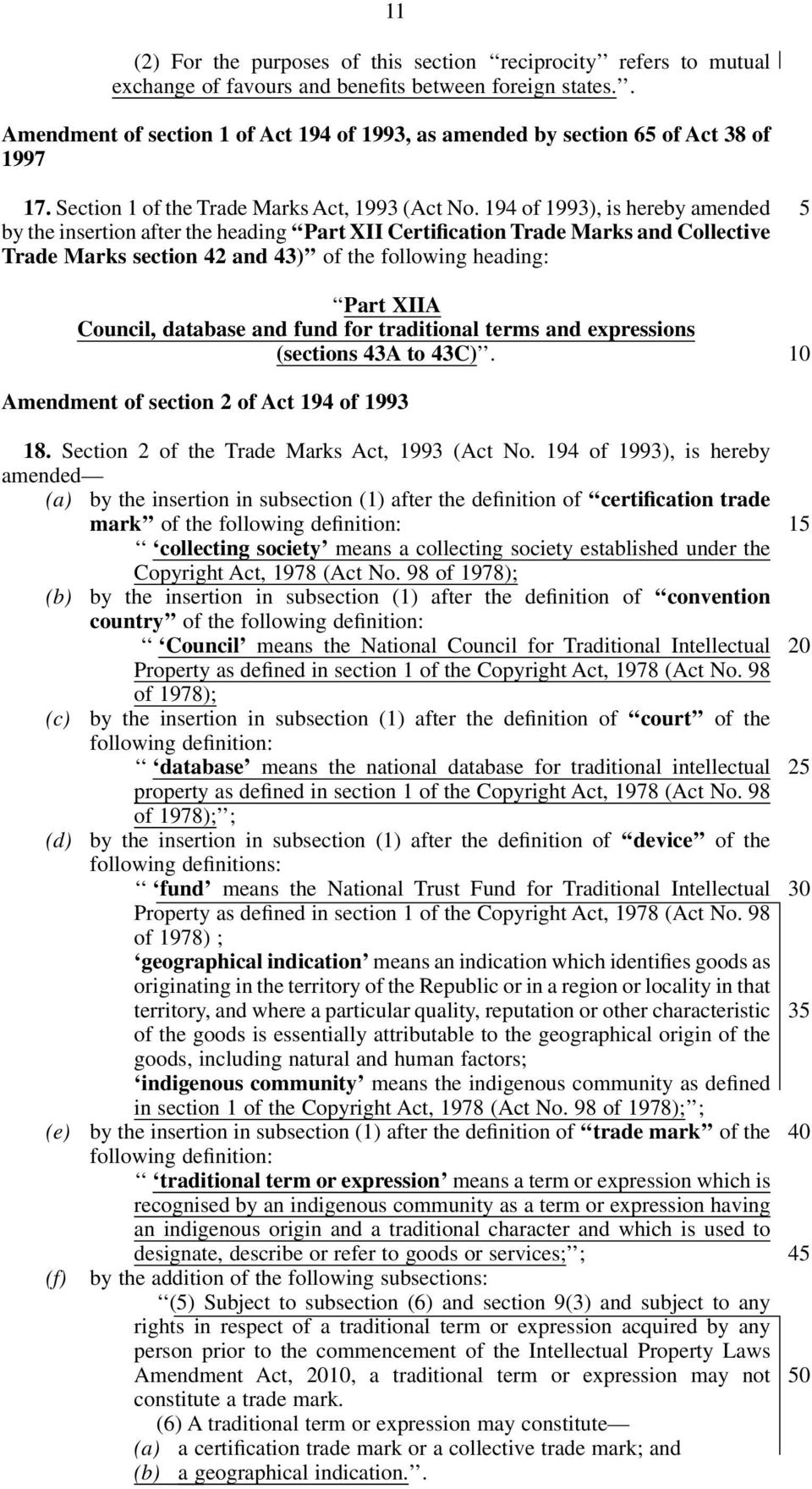 194 of 1993), is hereby amended by the insertion after the heading Part XII Certification Trade Marks and Collective Trade Marks section 42 and 43) of the following heading: Part XIIA Council,