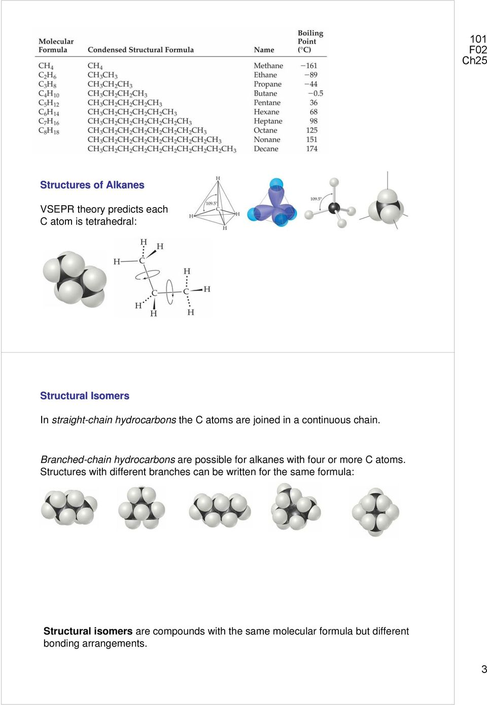 Branched-chain hydrocarbons are possible for alkanes with four or more C atoms.