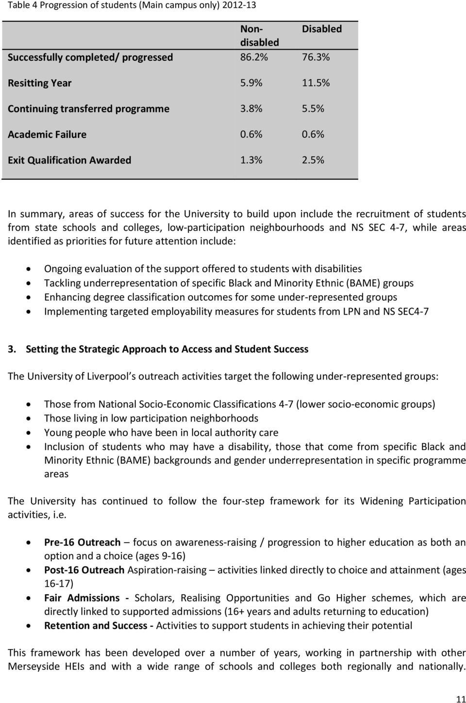 5% In summary, areas of success for the University to build upon include the recruitment of students from state schools and colleges, low-participation neighbourhoods and NS SEC 4-7, while areas
