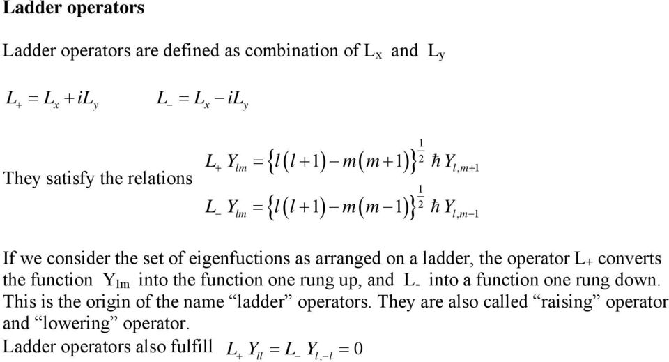 the operator L + converts the function Y into the function one rung up, and L - into a function one rung down.