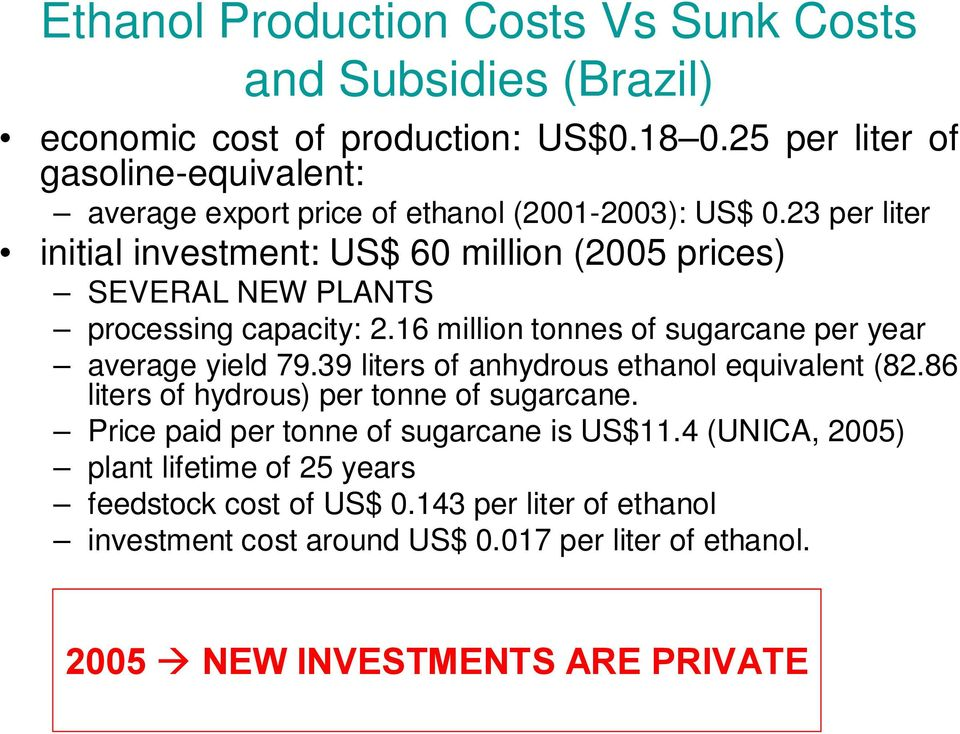 23 per liter initial investment: US$ 60 million (2005 prices) SEVERAL NEW PLANTS processing capacity: 2.16 million tonnes of sugarcane per year average yield 79.