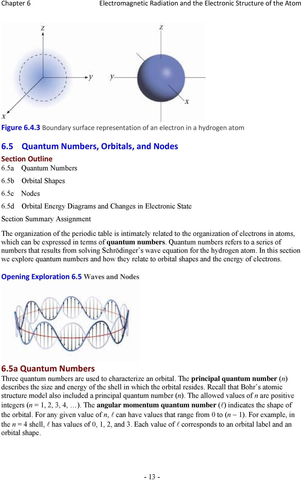 be expressed in terms of quantum numbers. Quantum numbers refers to a series of numbers that results from solving Schrödinger s wave equation for the hydrogen atom.