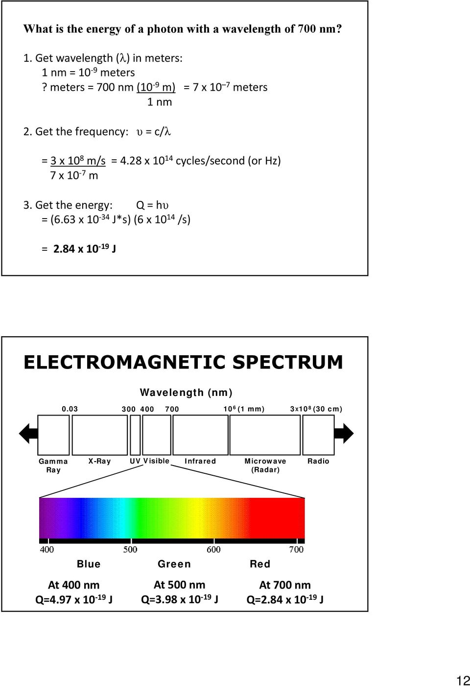 Get the energy: Q = hυ = (6.63 x 10 34 J*s) (6 x 10 14 /s) = 2.84 x 10 19 J ELECTROMAGNETIC SPECTRUM Wavelength (nm) 0.