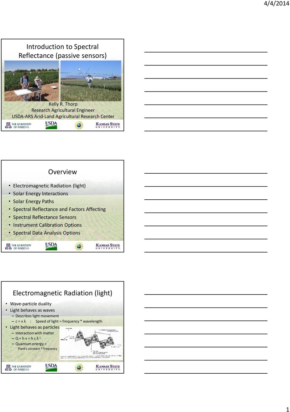Energy Paths Spectral Reflectance and Factors Affecting Spectral Reflectance Sensors Instrument Calibration Options Spectral Data Analysis Options