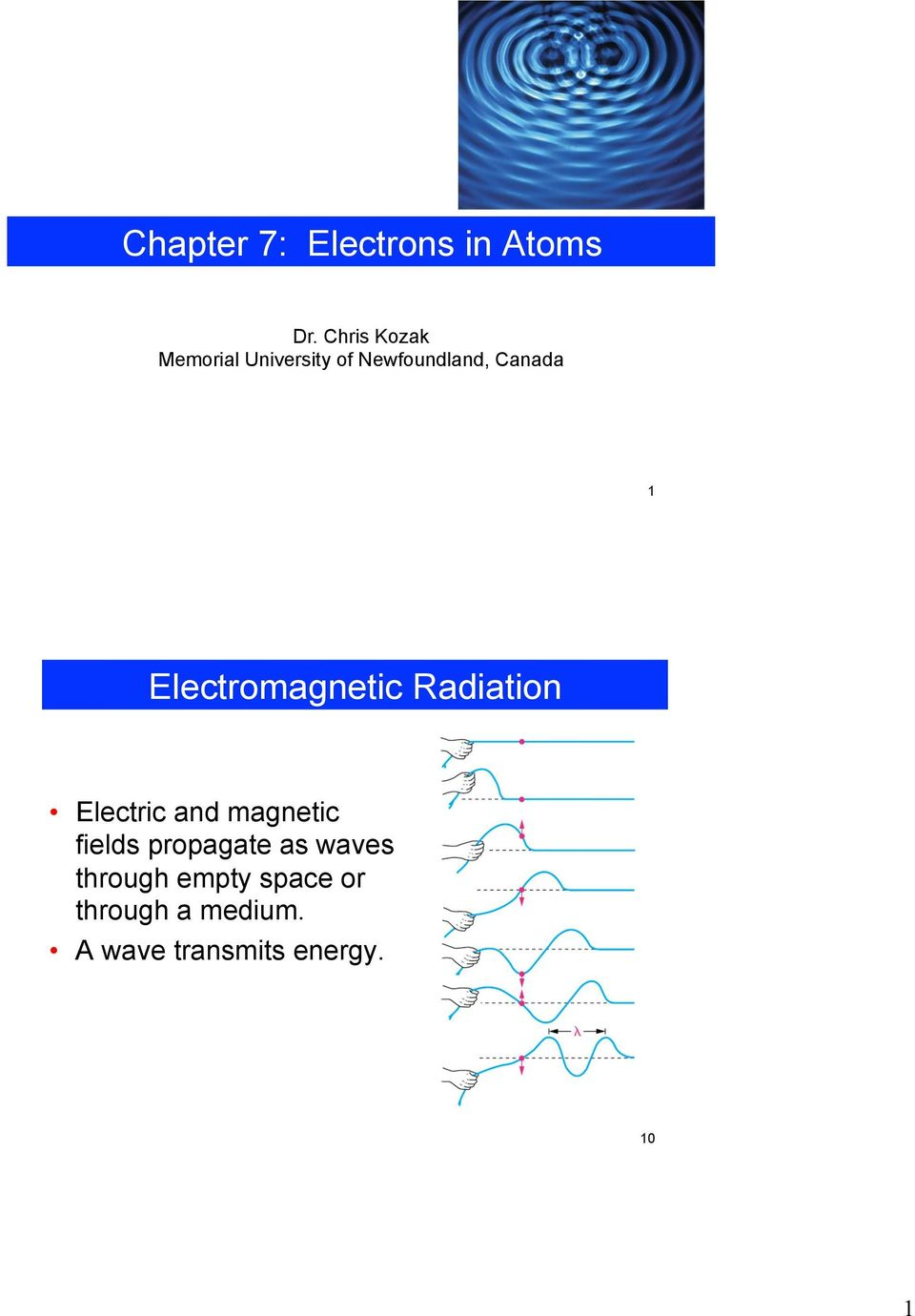 Electromagnetic Radiation Electric and magnetic fields
