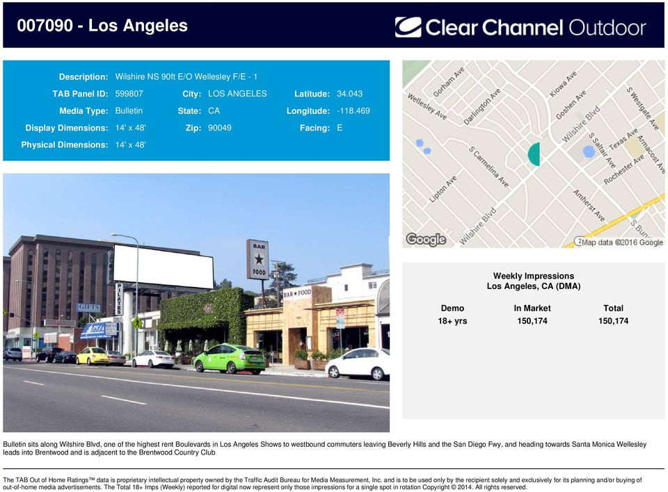 469 Display Dimensions: 14' x 48' Zip: 90049 Facing: E 18+ yrs 150,174 150,174 Bulletin sits along Wilshire Blvd, one of the