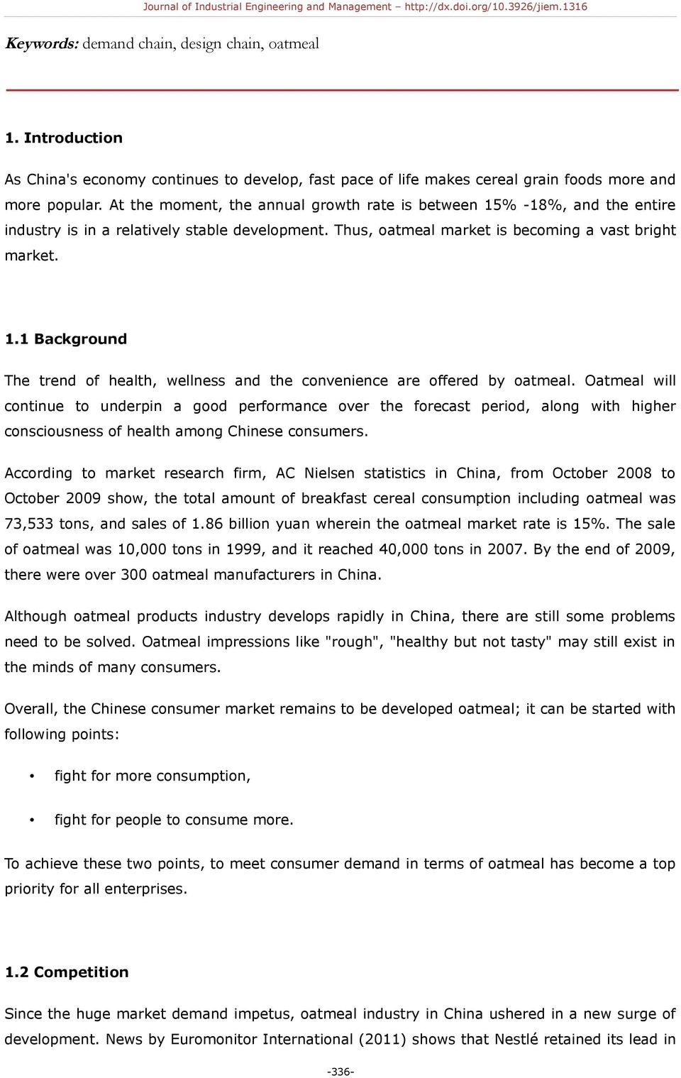 A Demand Chain Design for Chinese Oatmeal Companies