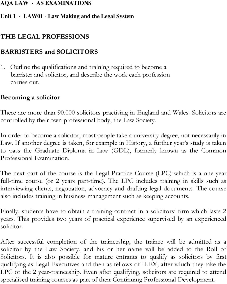 000 solicitors practising in England and Wales. Solicitors are controlled by their own professional body, the Law Society.
