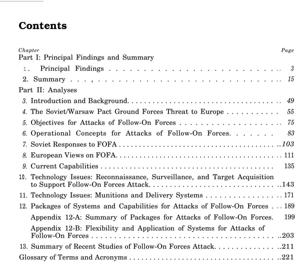 ................. Operational Concepts for Attacks of Follow-On Forces....... Soviet Responses to FOFA....................................... European Views on FOFA........................................ Current Capabilities.
