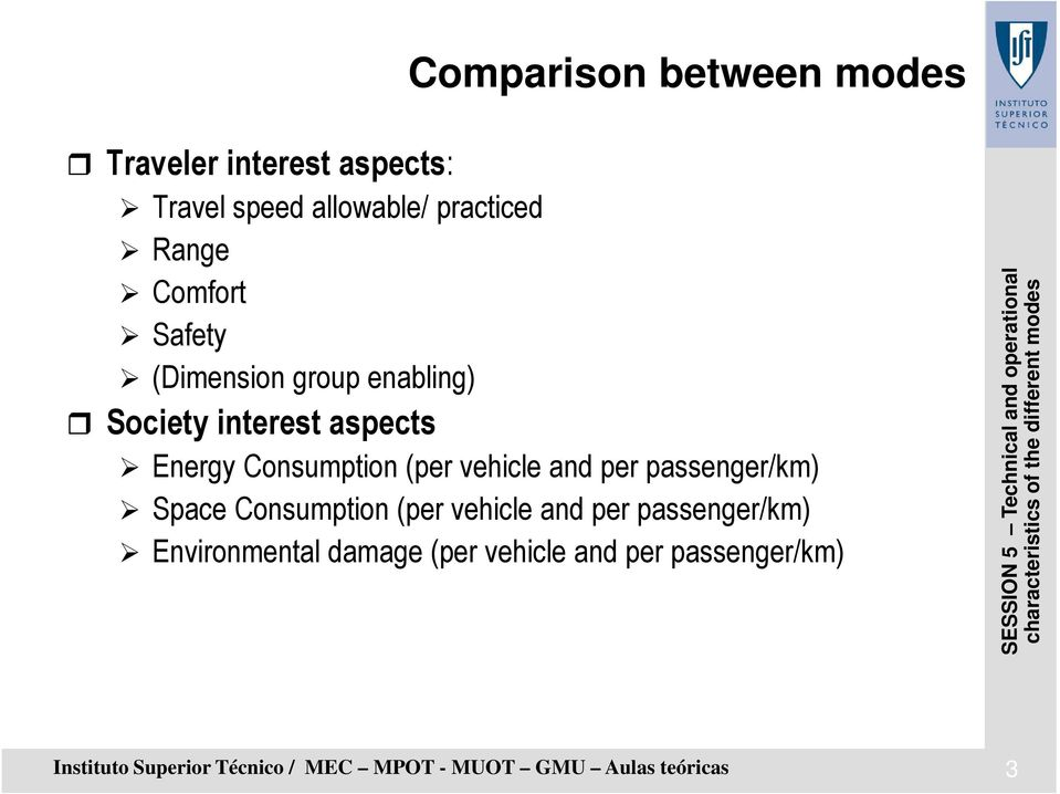 vehicle and per passenger/km) Space Consumption (per vehicle and per passenger/km) Environmental