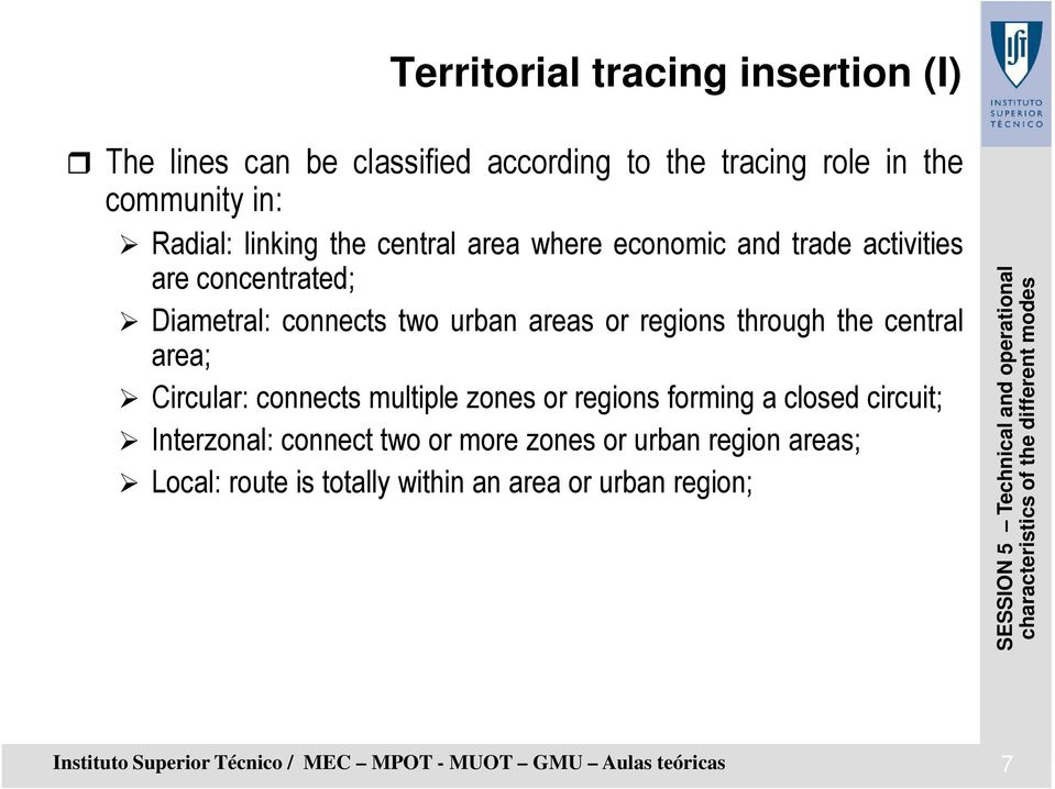 central area; Circular: connects multiple zones or regions forming a closed circuit; Interzonal: connect two or more zones or urban