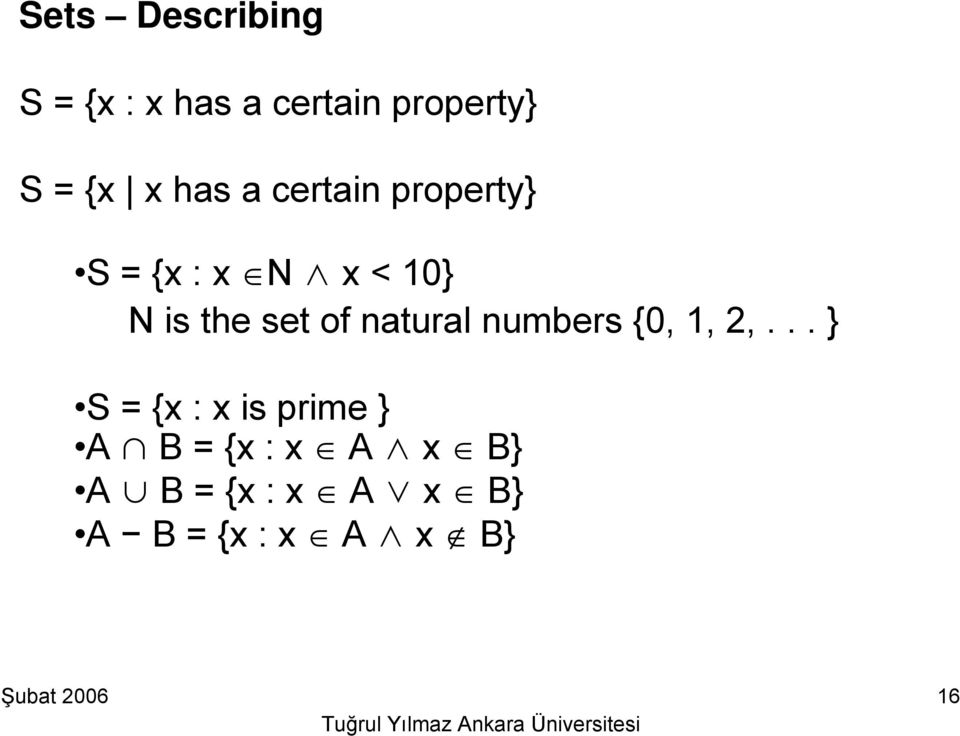 set of natural numbers {0, 1, 2,.