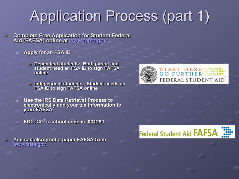 "Independent students: Student needs an FSA ID to sign FAFSA online "" Use the IRS Data Retrieval Process to"