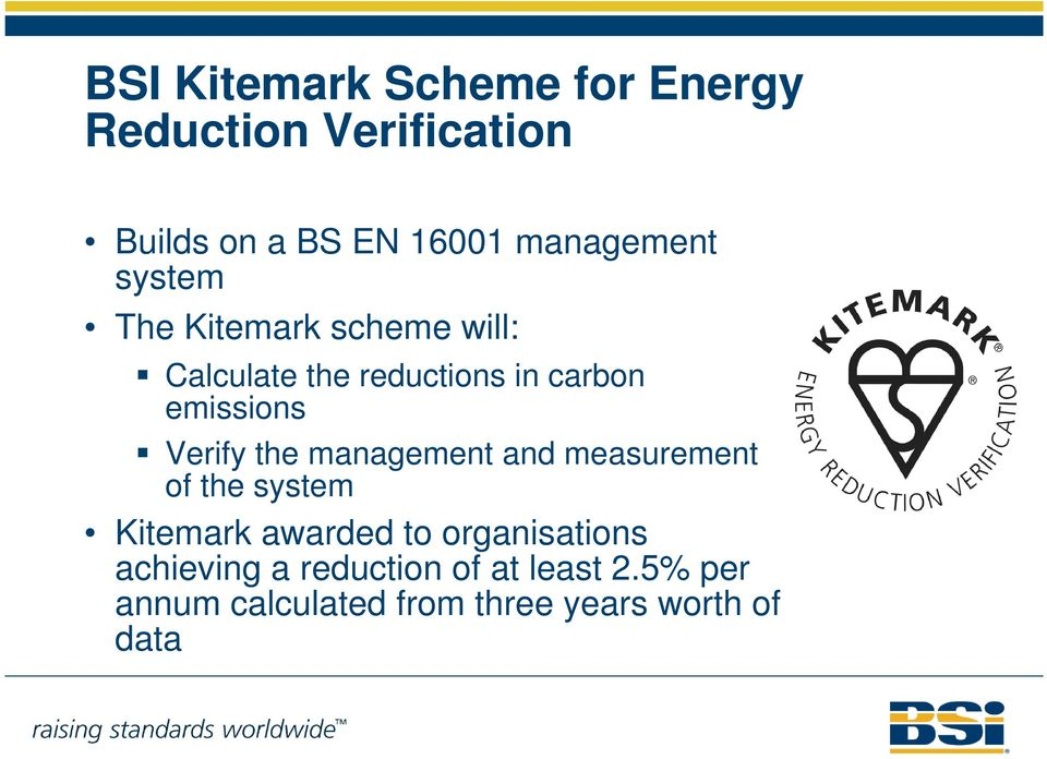 emissions Verify the management and measurement of the system Kitemark awarded to