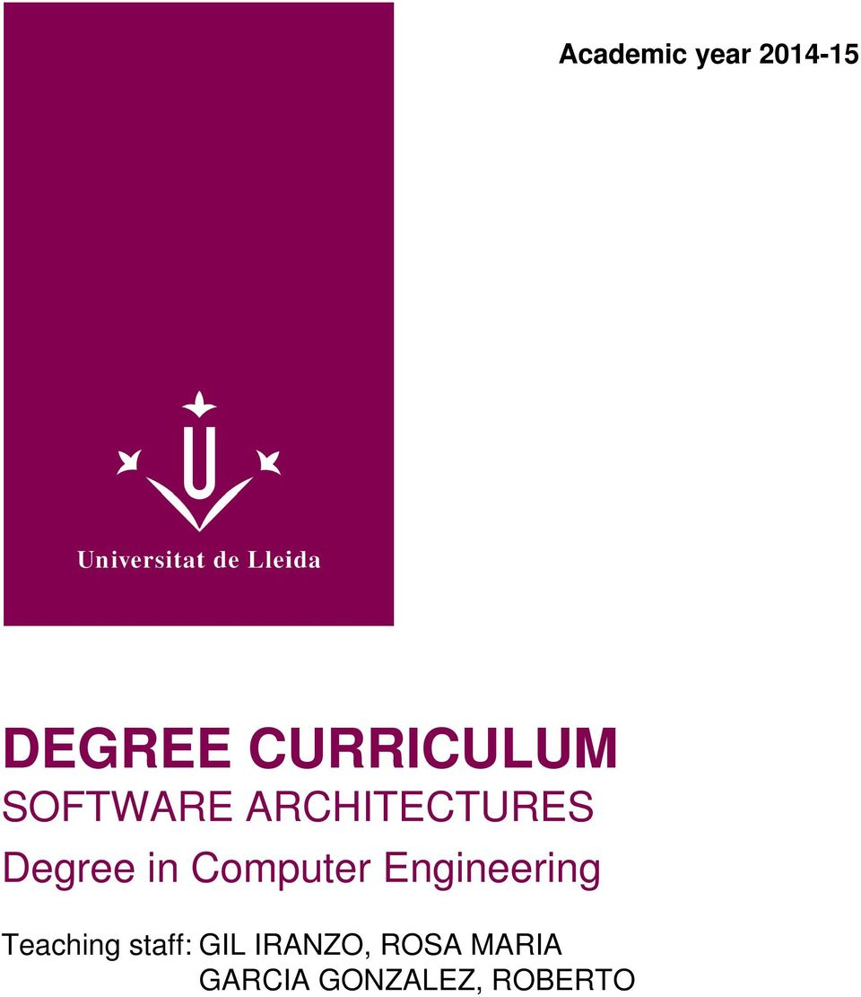 Computer Engineering Teaching staff:
