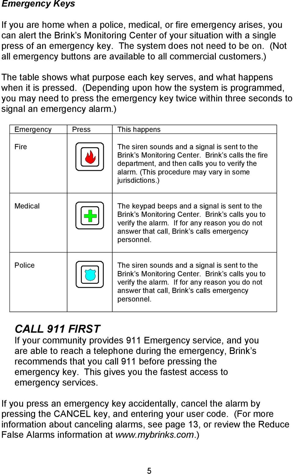 (Depending upon how the system is programmed, you may need to press the emergency key twice within three seconds to signal an emergency alarm.