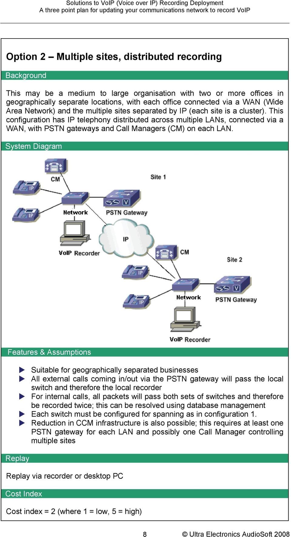 by IP (each site is a cluster). This configuration has IP telephony distributed across multiple LANs, connected via a WAN, with PSTN gateways and Call Managers (CM) on each LAN...System Diagram.