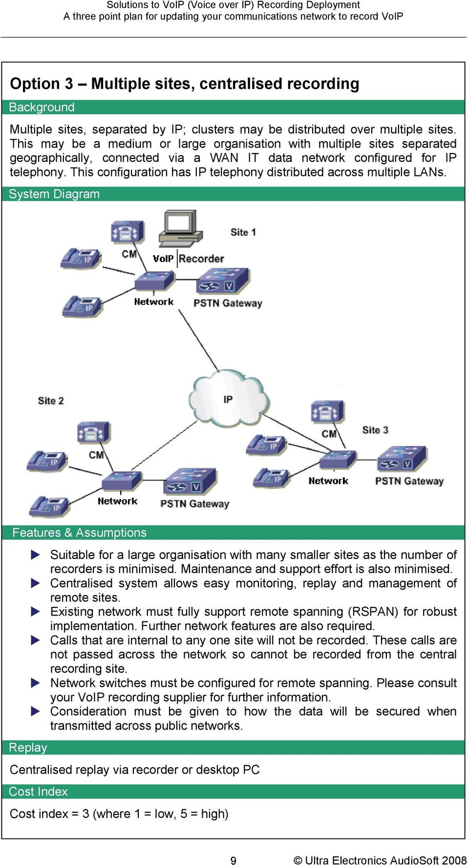 This configuration has IP telephony distributed across multiple LANs...System Diagram.
